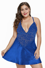 Load image into Gallery viewer, Blue Satin and Lace Chemise Set