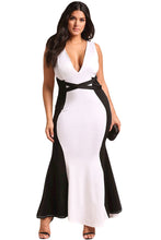 Load image into Gallery viewer, Plus Size Color Block Cross Strap Maxi Gown