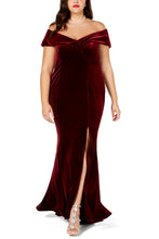 Load image into Gallery viewer, Red Plus Size Off-The-Shoulder Velvet Gown