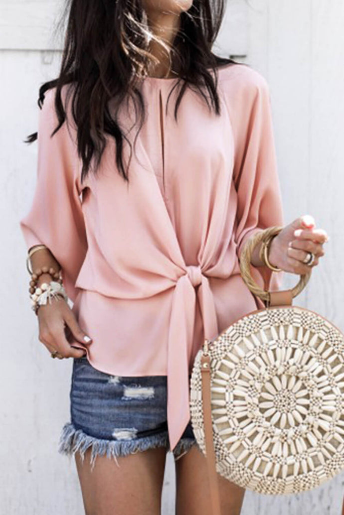 Pink Waist Tie Front Flare Sleeve Blouse