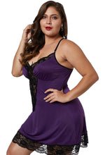 Load image into Gallery viewer, Purple Venecia Chemise with Lace Trim