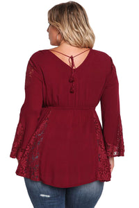 Burgundy V Neck Lace Insert Bell Sleeves Babydoll Plus Top