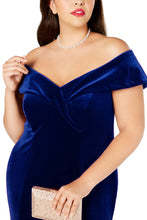 Load image into Gallery viewer, Blue Off-The-Shoulder Velvet Gown