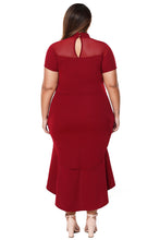 Load image into Gallery viewer, Burgundy Mesh Insert Ruffled Hi-low Hem Curvy Dress