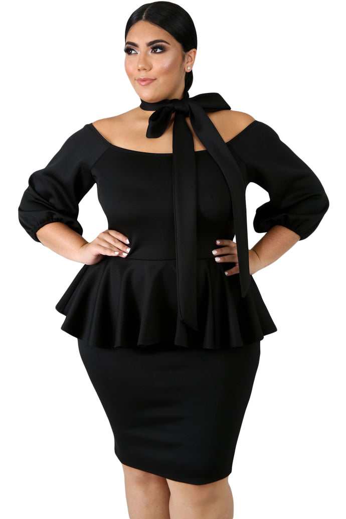 Black Sash Tie Plus Size Peplum Dress