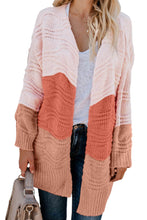 Load image into Gallery viewer, Pink Colorblock Knit Cardigan