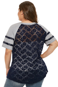 Blue Lace Panel Raglan Sleeve T-shirt