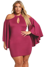 Load image into Gallery viewer, Rosy Plus Size Cold Shoulder Bell Sleeve Bodycon Dress