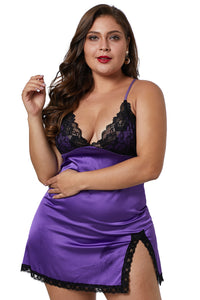 Purple Satin Chemise with Lace