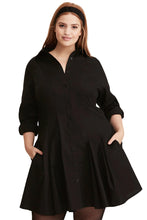 Load image into Gallery viewer, Black Button Down Plus Size Flared Shirt Dress