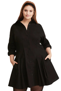 Black Button Down Plus Size Flared Shirt Dress