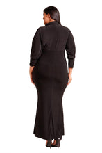 Load image into Gallery viewer, Black Plus Size Collared Deep V Maxi Dress