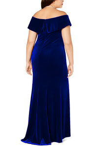 Blue Off-The-Shoulder Velvet Gown
