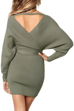 Load image into Gallery viewer, Olive Long Sleeve V Neck Tied Sweater Dress