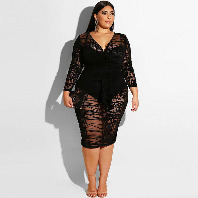 Plus Size Black See Through Party Dress