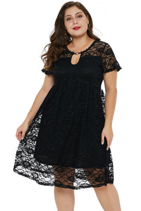 Black Plus Size Lace Trapeze Babydoll Mini Dress