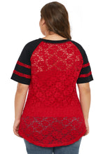 Load image into Gallery viewer, Red Lace Panel Raglan Sleeve T-shirt