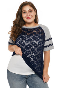 Blue Lace Panel Raglan Sleeve Plus Size T-shirt