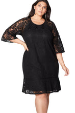 Load image into Gallery viewer, Black Crochet Lace Overlay Plus Size Midi Dress