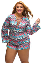Load image into Gallery viewer, Plus Bright Zigzag Print Deep V Lace-up Long Sleeve Playsuit