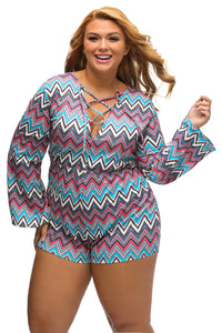 Plus Bright Zigzag Print Deep V Lace-up Long Sleeve Playsuit