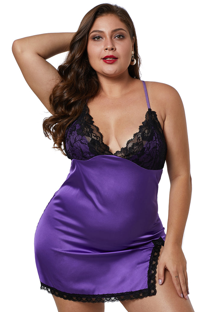 Purple Plus Size Satin Chemise with Lace