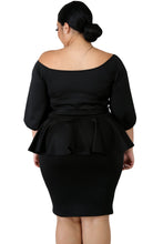 Load image into Gallery viewer, Sash Tie Peplum Dress (Black, White)