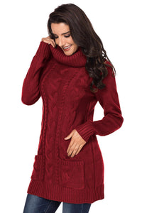 Red Cowl Neck Cable Knit Sweater Dress