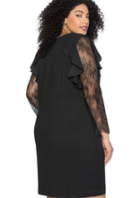 Load image into Gallery viewer, Ruffle Trim Lace Sleeve Plus Size Shift Dress