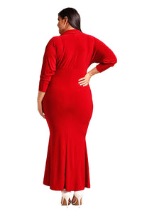Red Plus Size Collared Deep V Maxi Dress