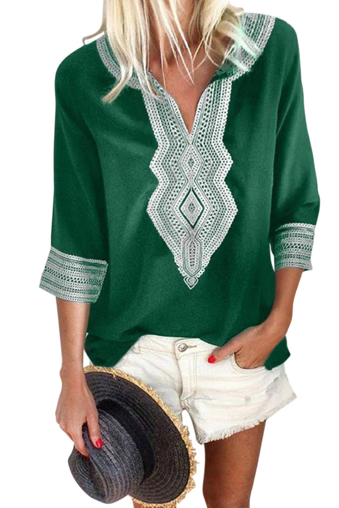 Green Summer Boho Embroidered V Neck Loose Blouse