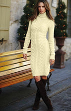Load image into Gallery viewer, Apricot Cable Knit High Neck Sweater Dress