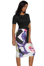 Load image into Gallery viewer, Short Sleeve Sheath Dress With Sash Tie (Black, Red, Blue, Green, Purple)