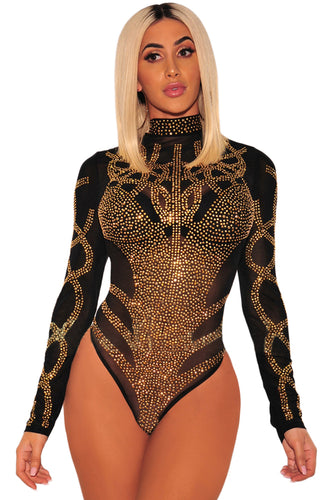 Faux Bustier Mesh Long Sleeve Bodysuit
