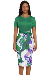 Short Sleeve Sheath Dress With Sash Tie (Black, Red, Blue, Green, Purple)