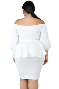 Sash Tie Peplum Dress (Black, White)