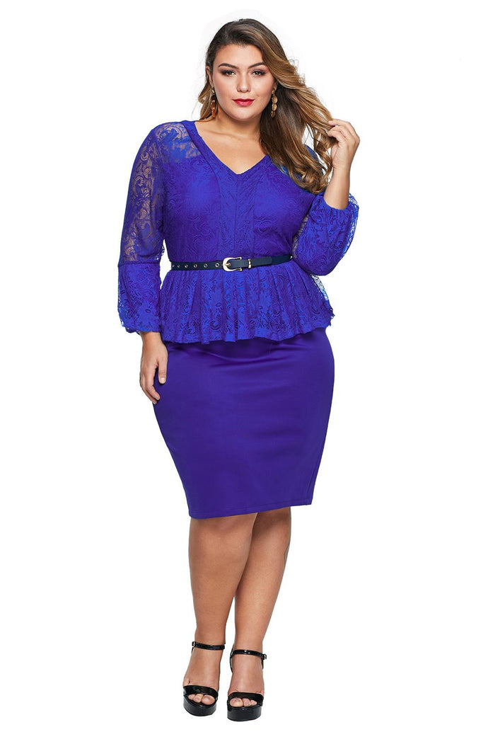 Lace Bodice Peplum Dress with Belt (Blue, Black)
