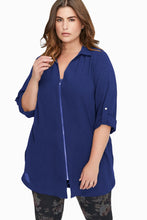 Load image into Gallery viewer, Zip Down Chiffon Blouse (Black, Blue)
