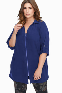 Zip Down Chiffon Blouse (Black, Blue)