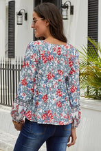 Load image into Gallery viewer, Floral  Vintage V Neck Blouse (Blue, Orange, Red)