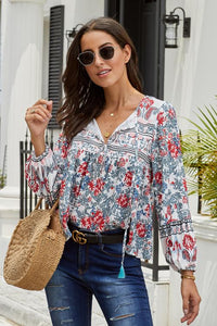 Floral  Vintage V Neck Blouse (Blue, Orange, Red)
