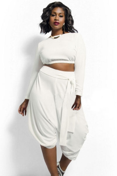 Crop Top with Draped Convertible Pants Set (White, Red)