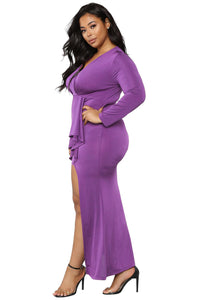 Surplice Long Sleeve Plus Size Dress ( Black, Purple)
