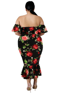 Floral Off the Shoulder Dress (White, Black)