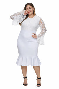 Lace Bodice Bell Sleeve Ruffled Hem Dress (White, Black)