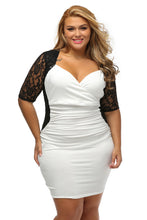 Load image into Gallery viewer, Black White Ruched Lace Illusion Plus Dress