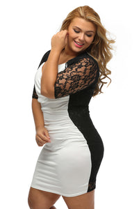 Black White Ruched Lace Illusion Plus Dress