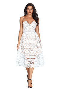 Lace Hollow Out Illusion Dress
