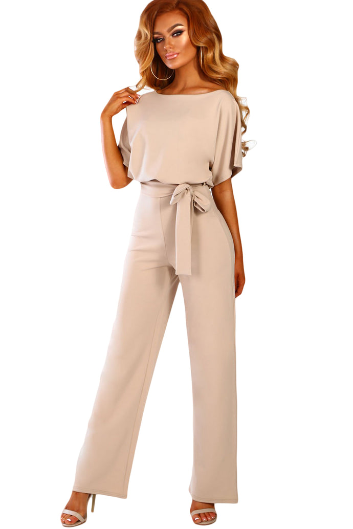 Oh So Glam Belted Wide Leg Jumpsuit ( Apricot, Black, Blue, Brown)