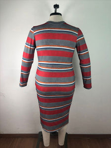 Plus Size Stripes Long Sleeve Bodycon Dress